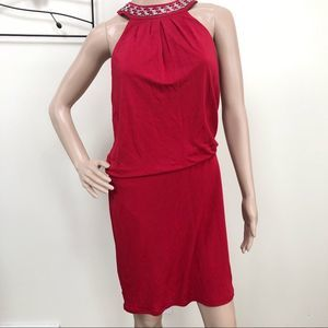 NWOT White House Black Market Red Halter Dress xs